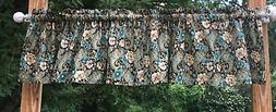 Green Teal Floral Paisley Brown Window Curtain Valance