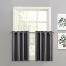 PONY DANCE Grey Blackout Tier - Window Valances Curtain Pane