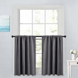 PONY DANCE Gray Curtain Tier - Rod Pocket Blackout Panels Wi