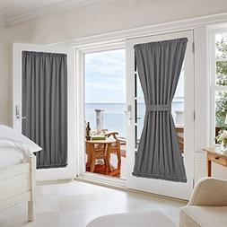 NICETOWN Grey French Door Curtains - Blackout Patio Door/Gla