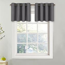 NICETOWN Grey Blackout Window Valance for Kitchen - Thermal