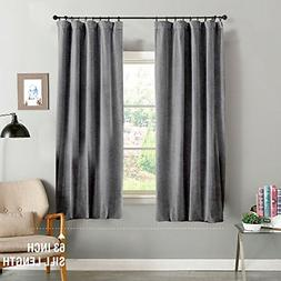 jinchan Grey Curtains Velvet Drapes Bedroom Window Curtains