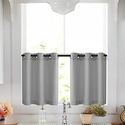 Lazzzy Tier Curtains 36 inch Grey Kitchen Curtain Set Gromme