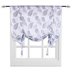 KEQIAOSUOCAI Grey Leaves Embroidery Sheer Tie Up Curtains Ro