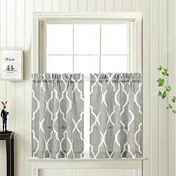 Grey Moroccan Tile Print Tier Curtains for Kitchen Lattice C