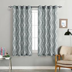 Grey Moroccan Tile Print Curtains for Living Room Darkening