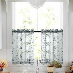 Tier Curtains 24 Inch Length Kitchen Cafe Floral Embroidered