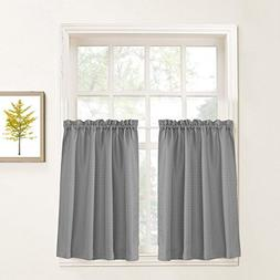"""Lazzzy Grey Tier Curtains for Kitchen 24"""" Cafe Gray Curtains"""