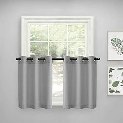 Grey Tiers Kitchen Curtains for Bathroom Semi Sheer Curtains