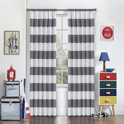 1 Piece 84 Inch Grey White Rugby Stripes Curtain Single Pane