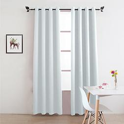 Greyish White 52x84 inch Blackout Curtains Solid Thermal Ins