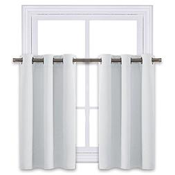 Greyish White Room Darkening Valances - Energy Efficient Kit