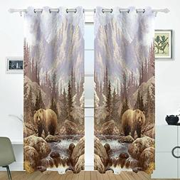ALIREA Grizzly Bear In The Rockies Blackout Curtains Darkeni