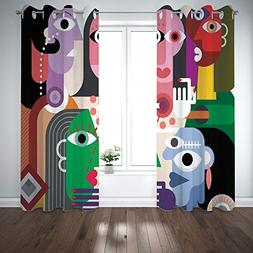Grommet Polyester Window Curtains Drapes  for Living Room Be