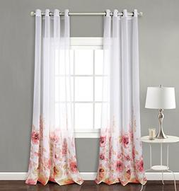MYSKY HOME Top Grommet Window Fiori Print Sheer Curtains, Re