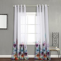 MYSKY HOME Top Grommet Window Fiori Print Sheer Curtain Pane