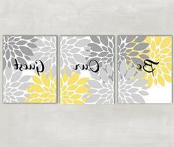 Be Our Guest Floral Wall Art in Yellow and Gray 8x10 Prints