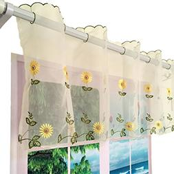 ZHH 1 Panel Handmade Daisy Embroidery Pastoral Style Cafe Cu