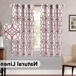 H.VERSAILTEX Natural Linen Nickel Grommet Top Curtains Breat