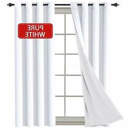 H.VERSAILTEX White  Curtains Elegant Extra Long Lined Faux S