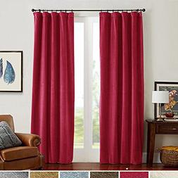 jinchan Half Blackout Velvet Curtains Red for Bedroom, Therm