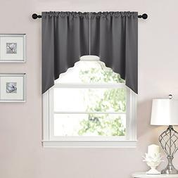 NICETOWN Half Window Kitchen Tier Curtains- Tailored Scallop