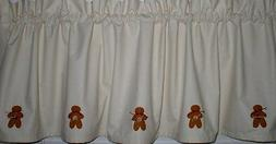 "Hand Painted Gingerbread Muslin Valance 60""W Kitchen Decor C"
