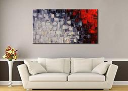 Seekland Hand Painted Red and White Abstract Canvas Wall Art