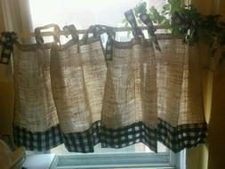 Handmade French Country Cafe Style  Burlap And Gingham, Set