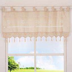 ZHH Handmade Hollow Flower Cafe Curtain Linen and Cotton Cro