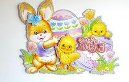 Happy Easter Glitter Chick & Bunny 3-D Sticker Decal for Win
