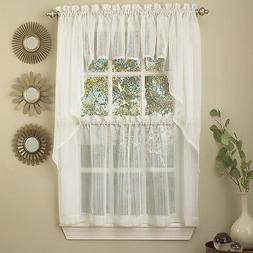 Harmony White Micro Stripe Semi Sheer Kitchen Curtains Tier