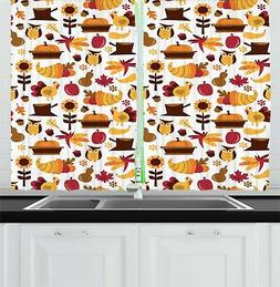 "Harvest Kitchen Curtains 2 Panel Set Window Drapes 55"" X 39"""