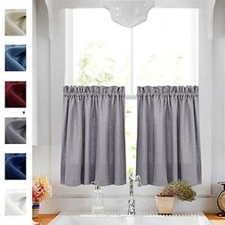 Tier Curtains Grey 24 inch Length Cafe Curtains Half Window