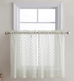 HLC.ME Herringbone Semi Sheer Voile Kitchen Cafe Curtain Pan