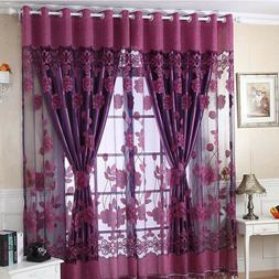 Luxurious Jacquard Window Curtains Burnout Tulle for Home Li