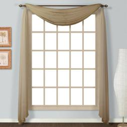 """Empire Home Solid Taupe Sheer Voile Scarf Valance 216"""" Long"""