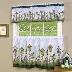 """Home Sweet Home Birdhouse Kitchen Curtain 36"""" Tier Pair & 13"""