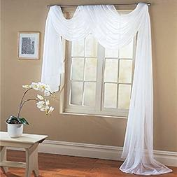 "Empire Home 56"" Wide X 216"" Long Pure White Sheer Window / W"