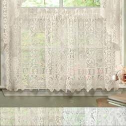 Hopewell Heavy Floral Lace Kitchen Window Curtain 36 x 58 Ti