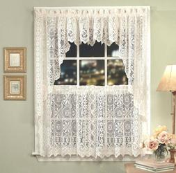 Hopewell Lace Kitchen Curtain Collection - White or Cream -