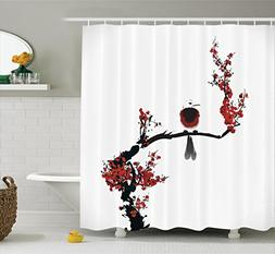 Ambesonne House Decor Collection, Bird on Cherry Tree Summer
