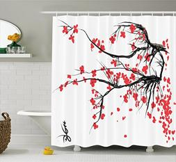 Ambesonne Nature Shower Curtain, Sakura Blossom Japanese Che