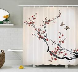 Ambesonne House Decor Shower Curtain, Cherry Branches Flower