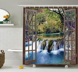 Ambesonne House Decor Shower Curtain Set, Wide Waterfall Dee