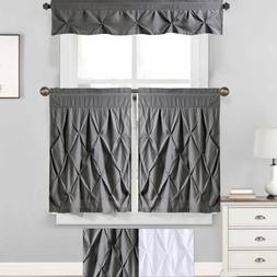 "Hudson Pintuck Kitchen Window Curtain 36"" Tier Pair and Vala"
