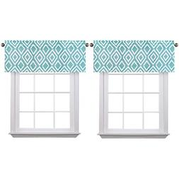 Flamingo P Ikat Fret Teal 2 Pack Valance Curtain for Kitchen