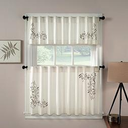 CHF Industries Scroll Leaf Tailored Tiered Kitchen Curtain -