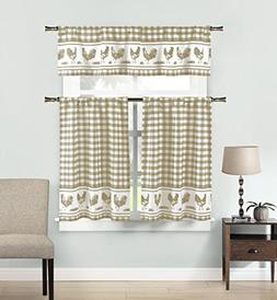 Premium Insulated 3 Piece Kitchen Window Curtain Tier & Vala