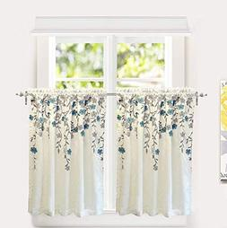 DriftAway Isabella Faux Silk Embroidered Kitchen Tiers, Embr